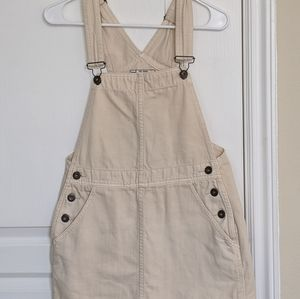 free people white denim overall dress